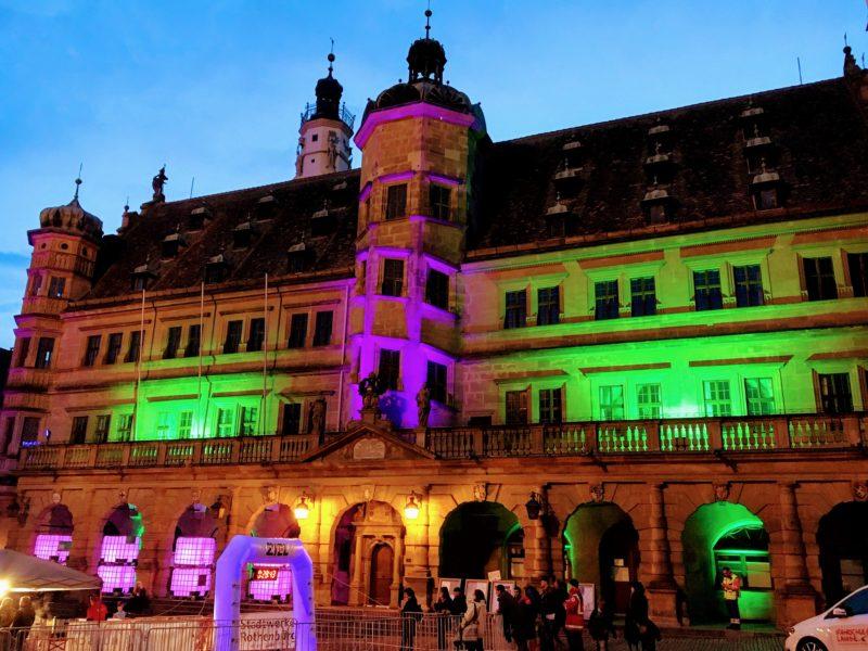 ローテンブルグのライトアップされた建物