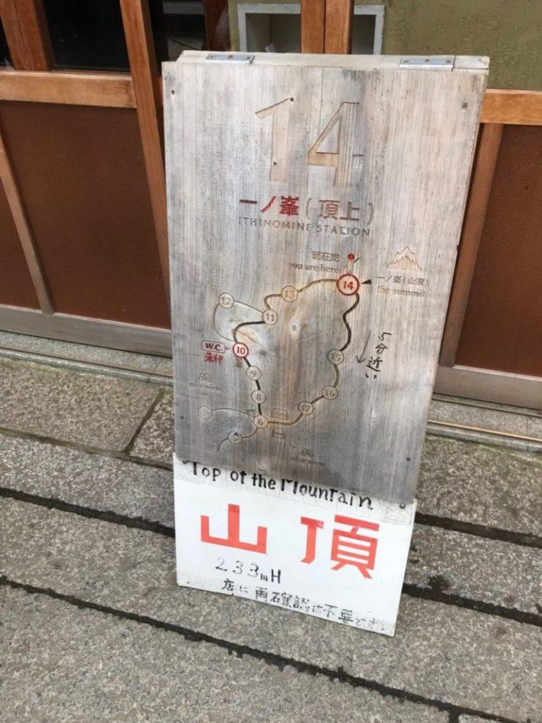 伏見稲荷大社一ノ峰の山頂看板