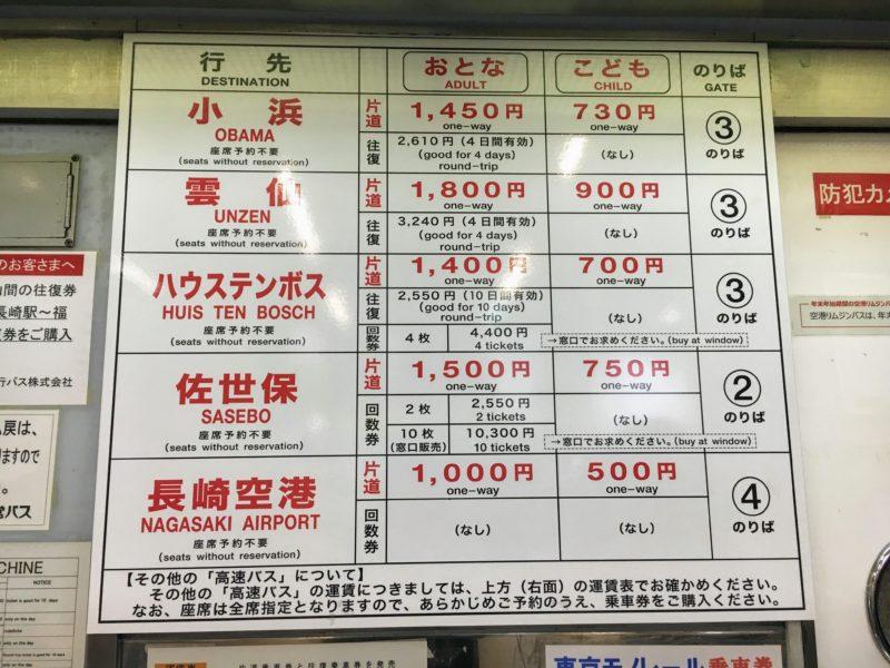 長崎県営バスの料金表