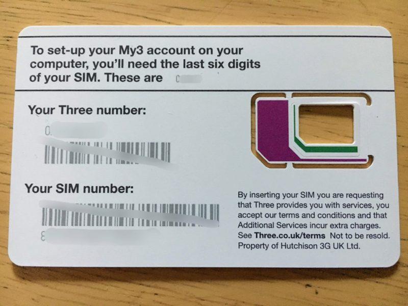Threeの電話番号記載欄