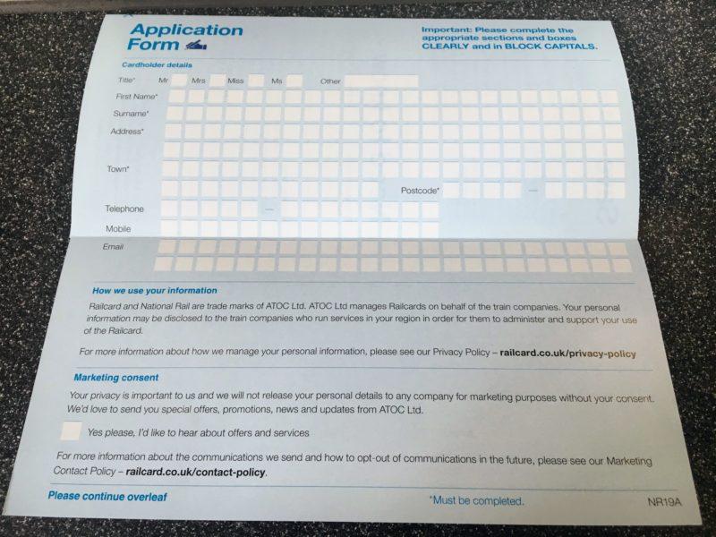 Railcardの申し込み用紙