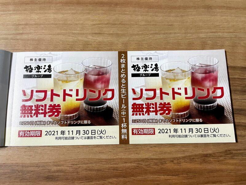RAKU SPA 1010 神田のソフトドリンク無料券